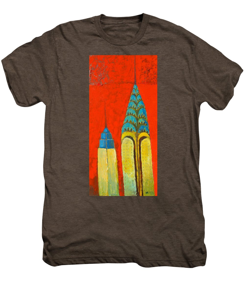 Men's Premium T-Shirt featuring the painting The Chrysler And The Empire State by Habib Ayat