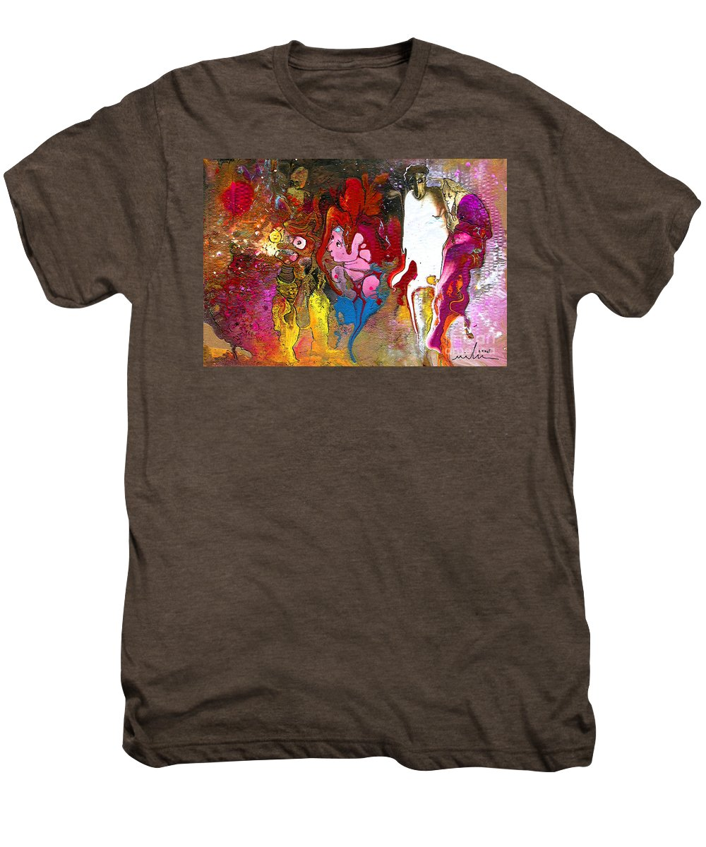 Miki Men's Premium T-Shirt featuring the painting The First Wedding by Miki De Goodaboom