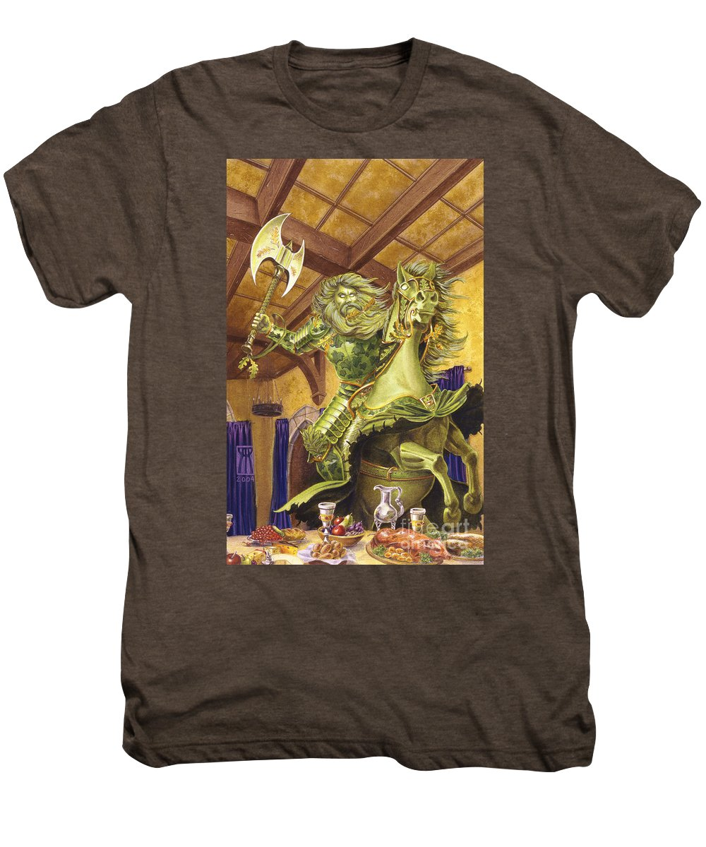 Fine Art Men's Premium T-Shirt featuring the painting The Green Knight by Melissa A Benson