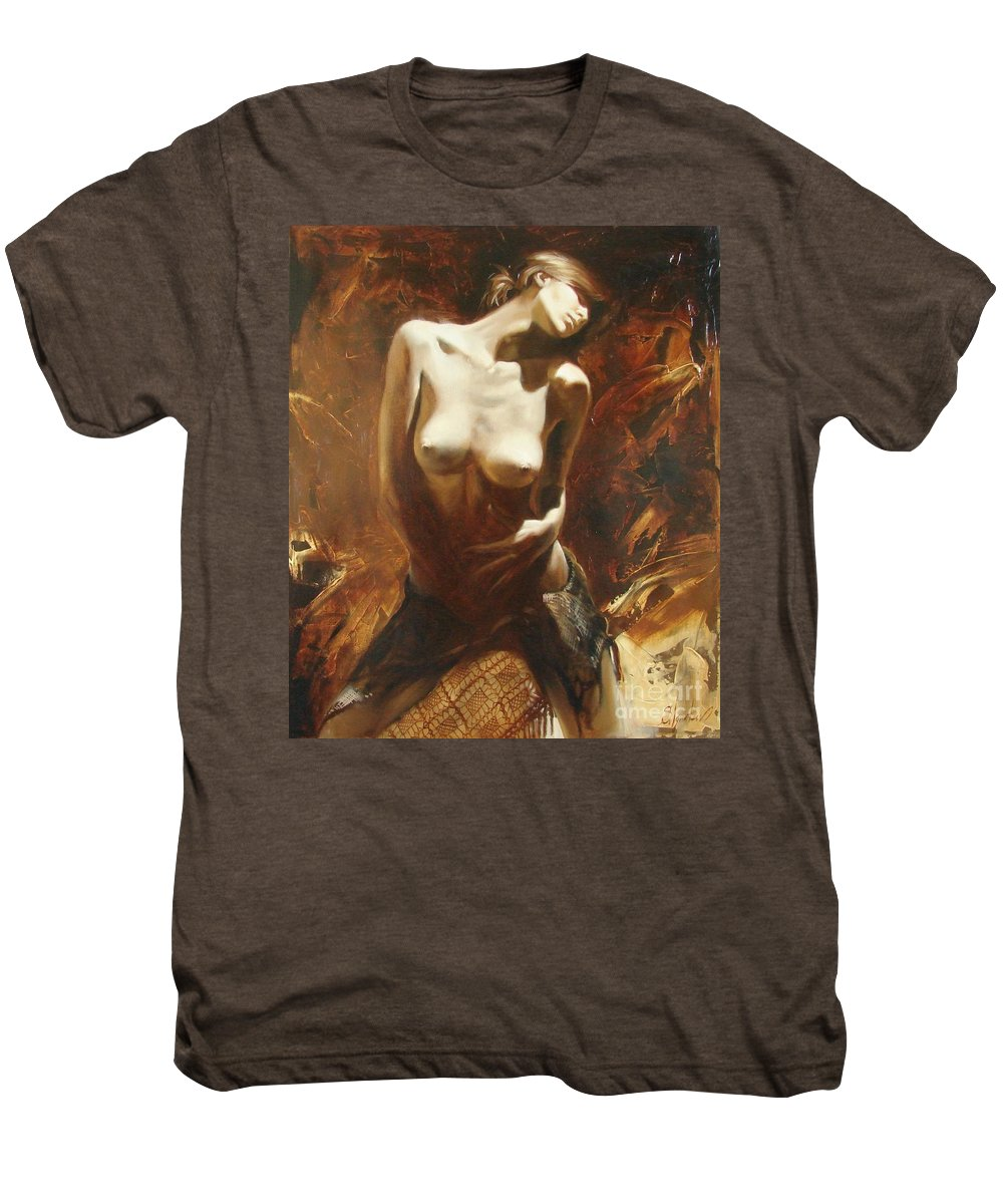 Oil Men's Premium T-Shirt featuring the painting The Incinerating Passion by Sergey Ignatenko