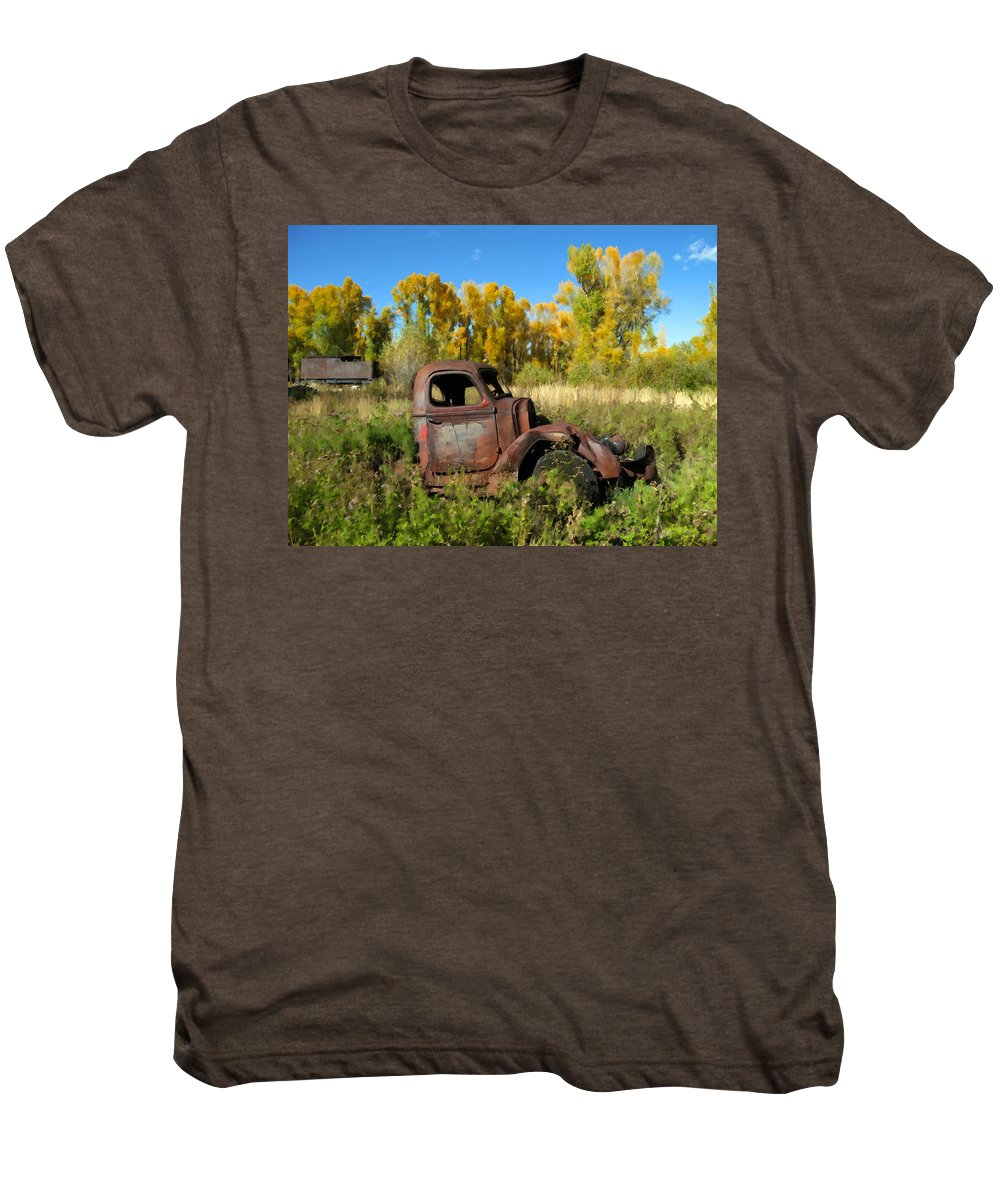 Truck Men's Premium T-Shirt featuring the photograph The Old Truck Chama New Mexico by Kurt Van Wagner