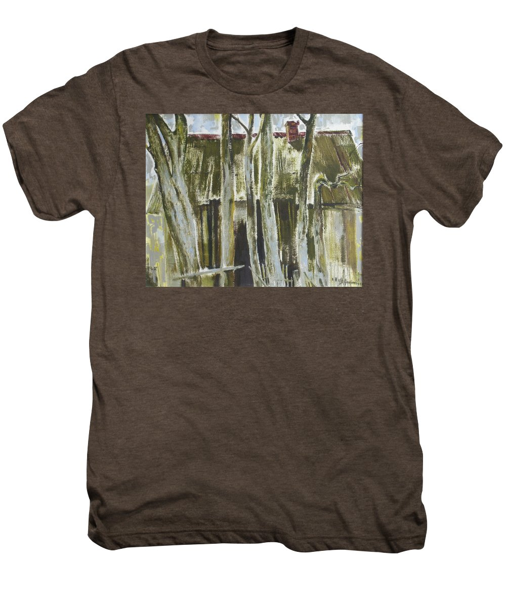 Oil Men's Premium T-Shirt featuring the painting The Past Space by Sergey Ignatenko
