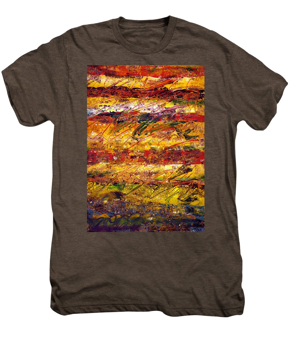 Abstract Men's Premium T-Shirt featuring the painting The Sun Rose One Step At A Time by Wayne Potrafka