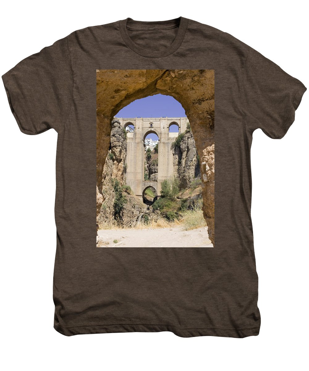 Ronda Men's Premium T-Shirt featuring the photograph The Tajo De Ronda And Puente Nuevo Bridge Andalucia Spain Europe by Mal Bray