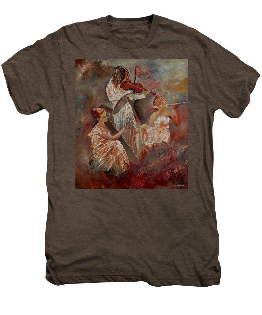 Music Men's Premium T-Shirt featuring the painting Three Musicians by Pol Ledent