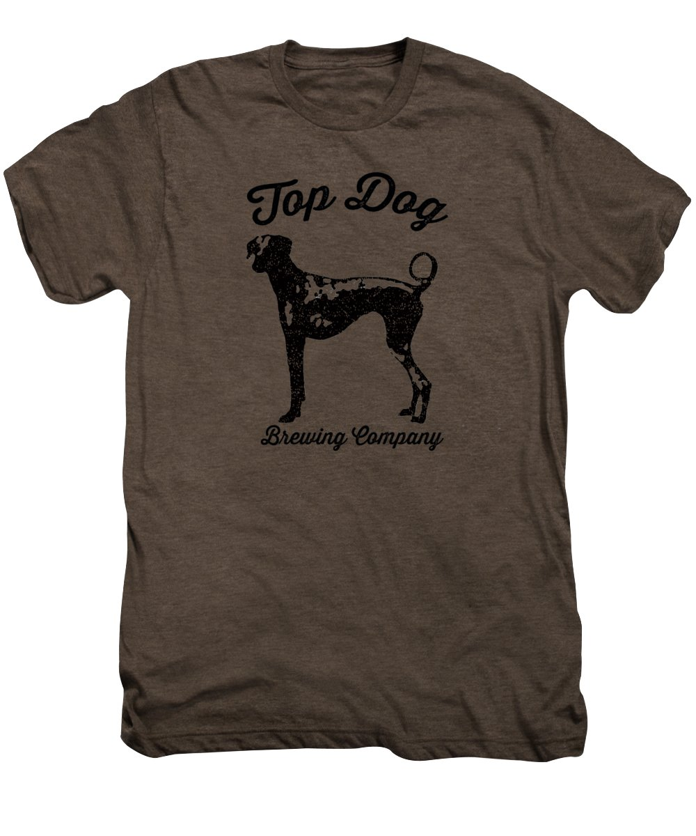 Dog Men's Premium T-Shirt featuring the drawing Top Dog Brewing Company Tee by Edward Fielding