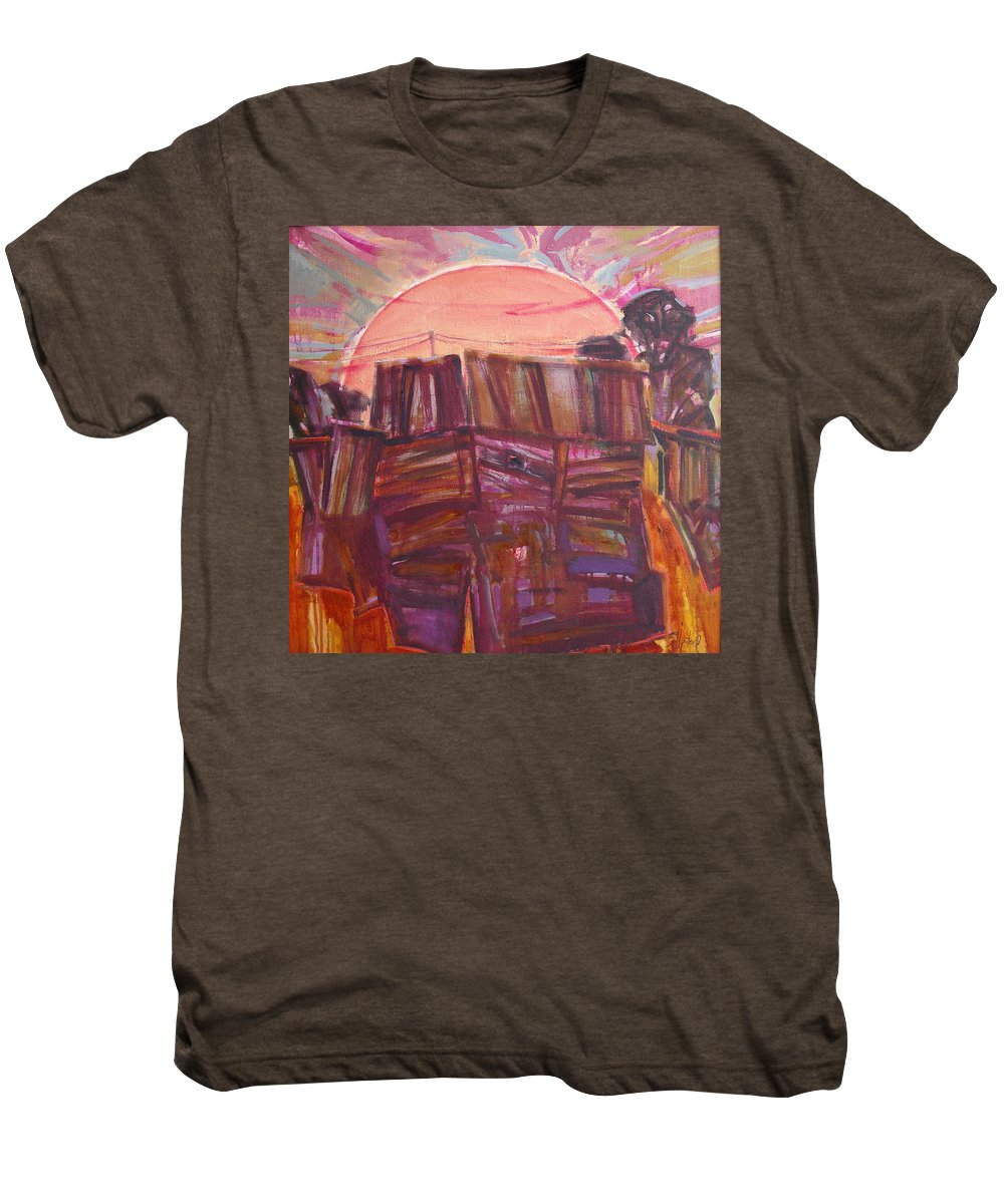 Oil Men's Premium T-Shirt featuring the painting Tracks by Sergey Ignatenko