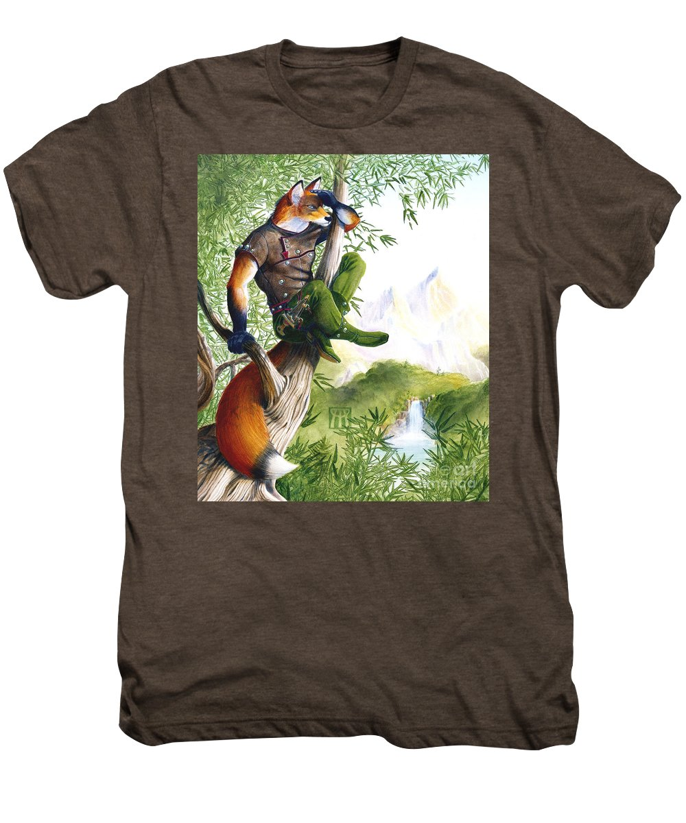 Fantasy Men's Premium T-Shirt featuring the painting Trail Blazing Fox by Melissa A Benson