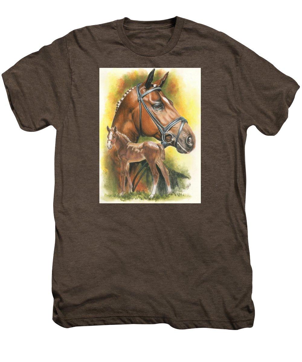 Jumper Hunter Men's Premium T-Shirt featuring the mixed media Trakehner by Barbara Keith