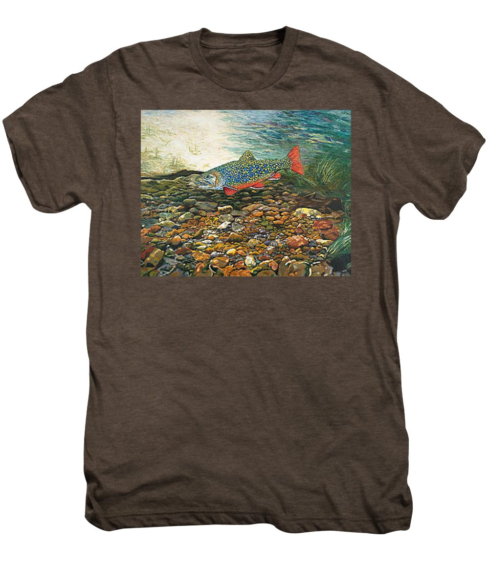Art Men's Premium T-Shirt featuring the painting Trout Art Fish Art Brook Trout Suspended Artwork Giclee Fine Art Print by Baslee Troutman