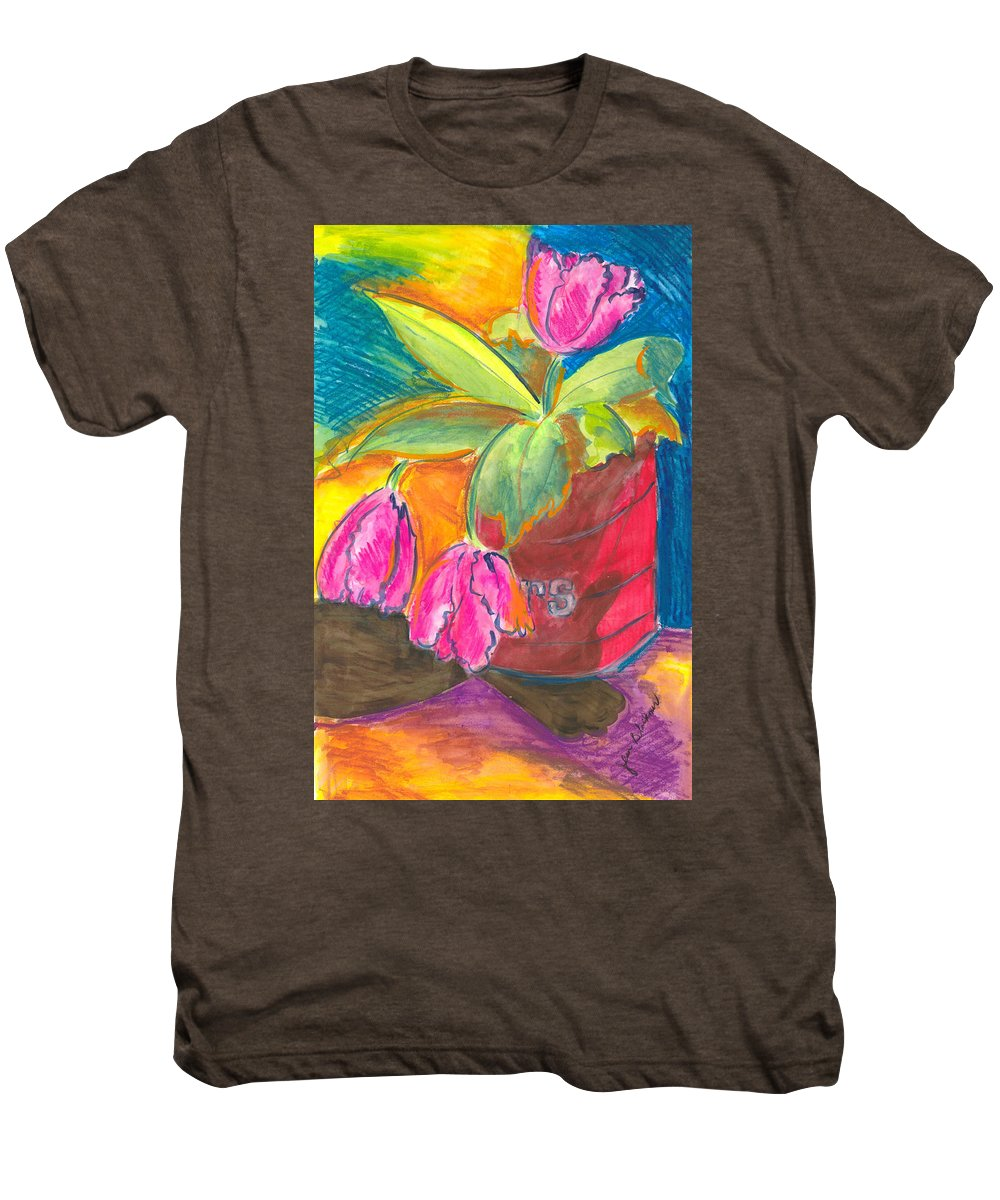 Flowers Men's Premium T-Shirt featuring the painting Tulips In Can by Jean Blackmer