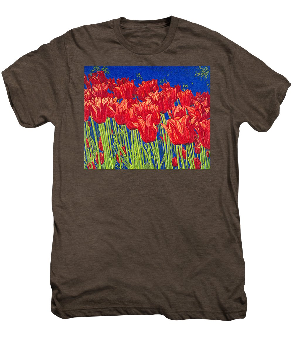 Tulips Men's Premium T-Shirt featuring the drawing Tulips Tulip Flowers Fine Art Print Giclee High Quality Exceptional Color Garden Nature Botanical by Baslee Troutman