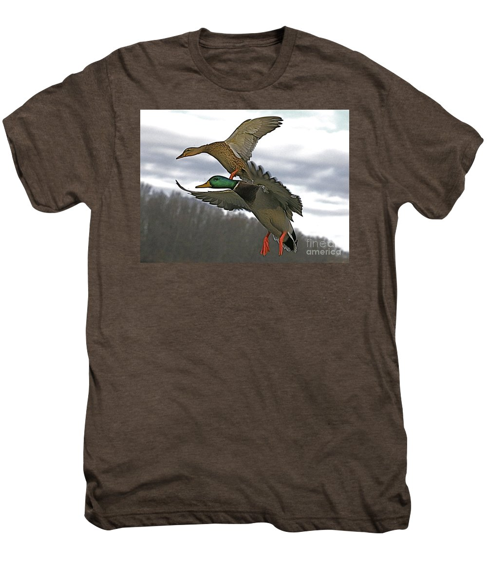 Duck Men's Premium T-Shirt featuring the photograph Two Land by Robert Pearson