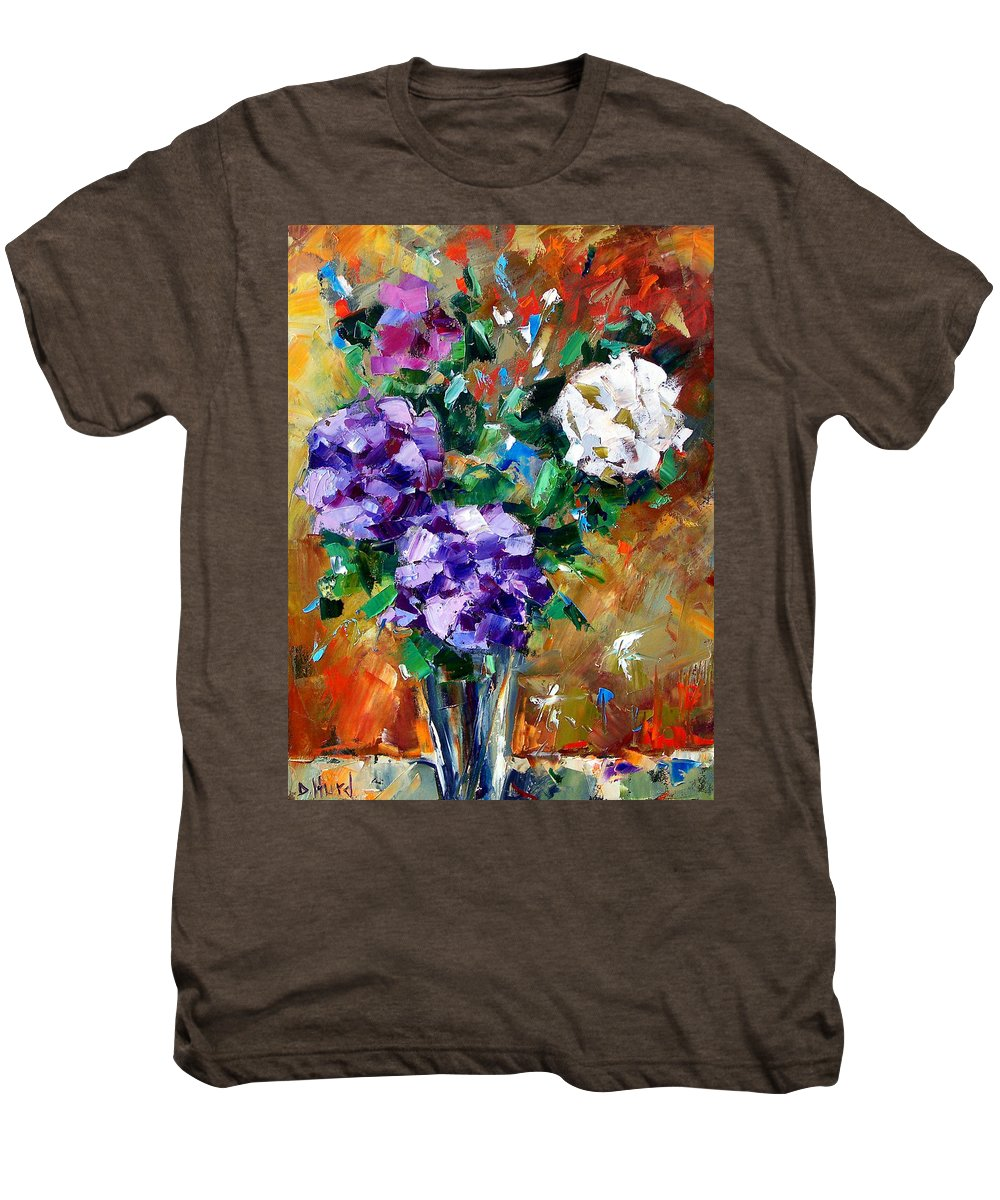 Flowers Men's Premium T-Shirt featuring the painting Vase Of Color by Debra Hurd