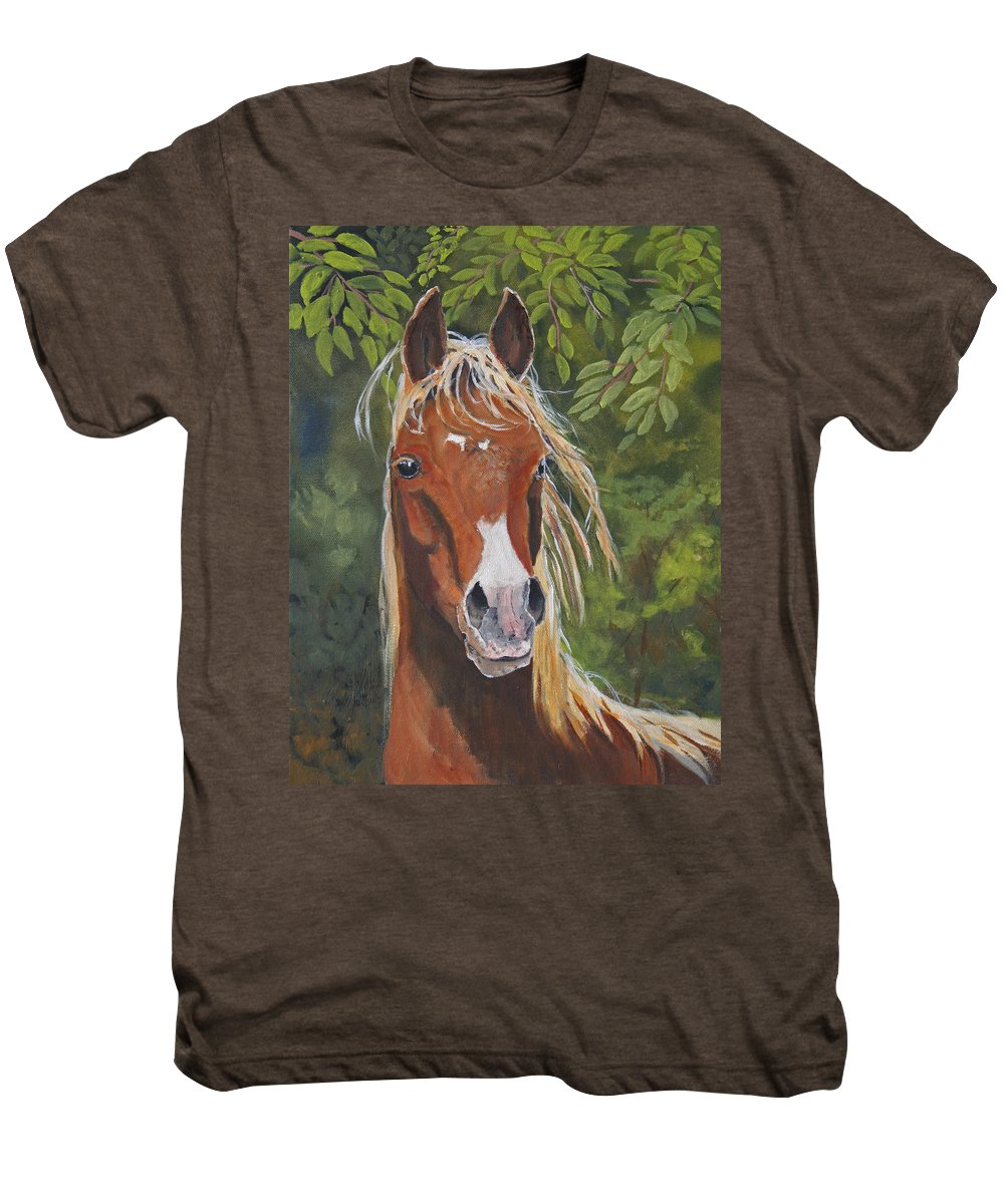 Horse Men's Premium T-Shirt featuring the painting Victory by Heather Coen
