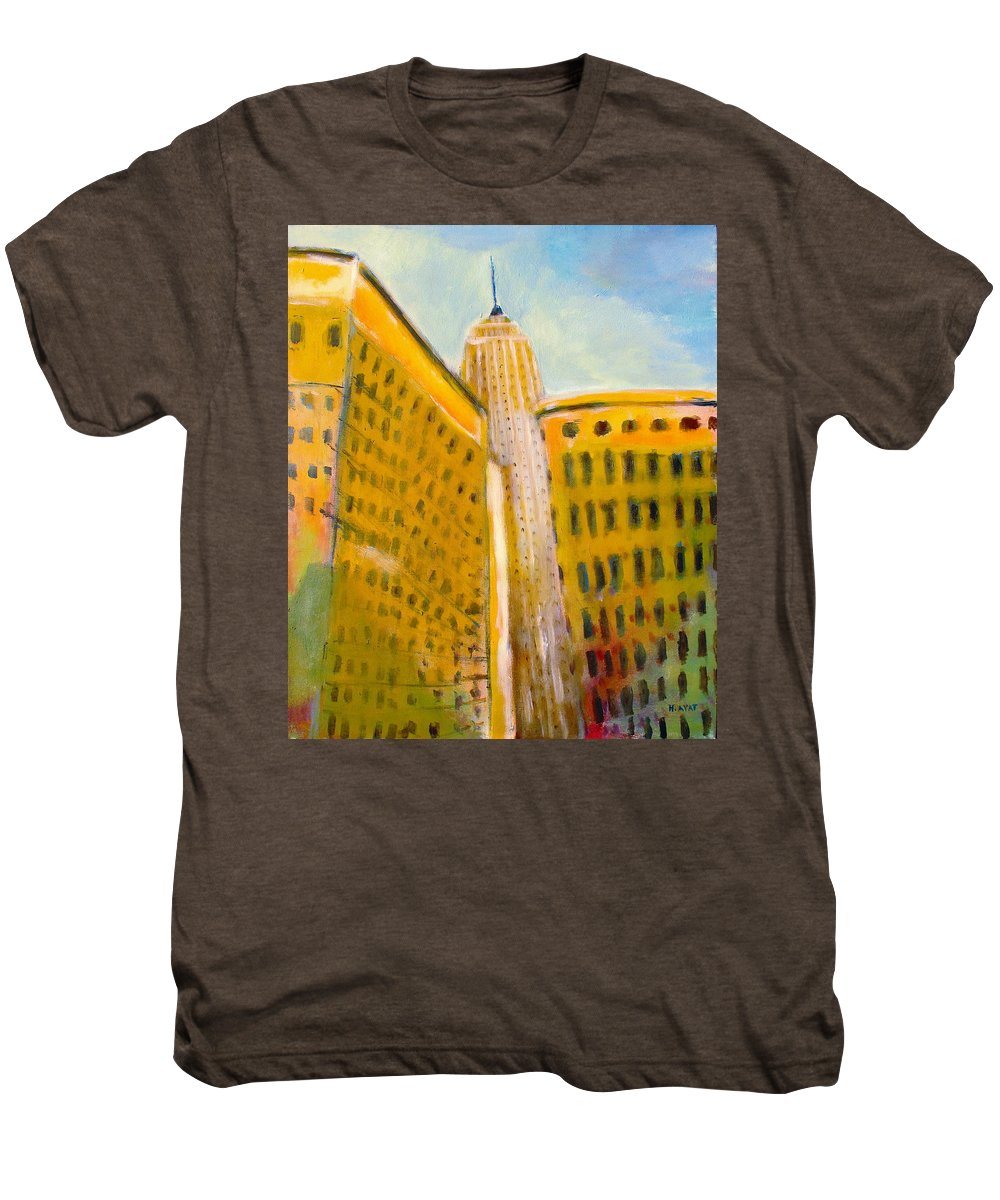 Abstract Cityscape Men's Premium T-Shirt featuring the painting View From The 33 St by Habib Ayat
