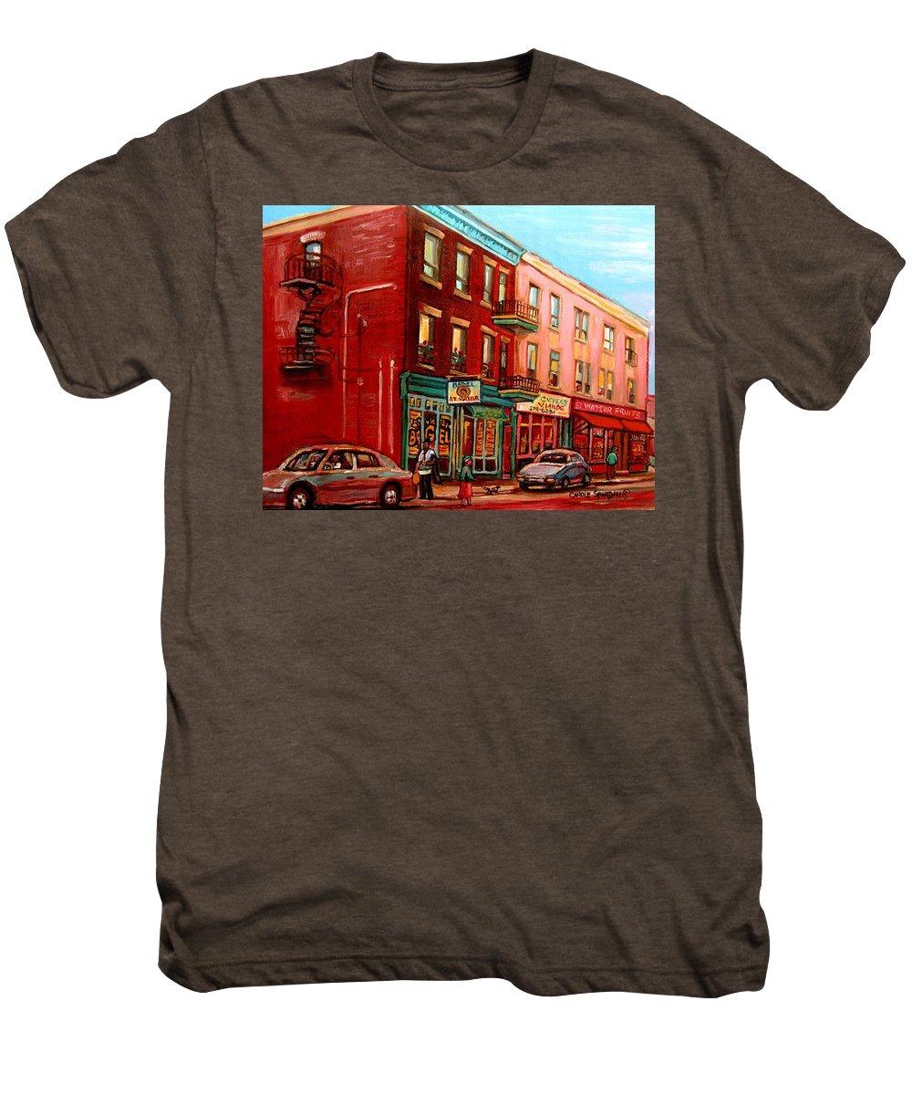 St Viateur Bagel Shop Montreal Street Scenes Men's Premium T-Shirt featuring the painting Vintage Montreal by Carole Spandau