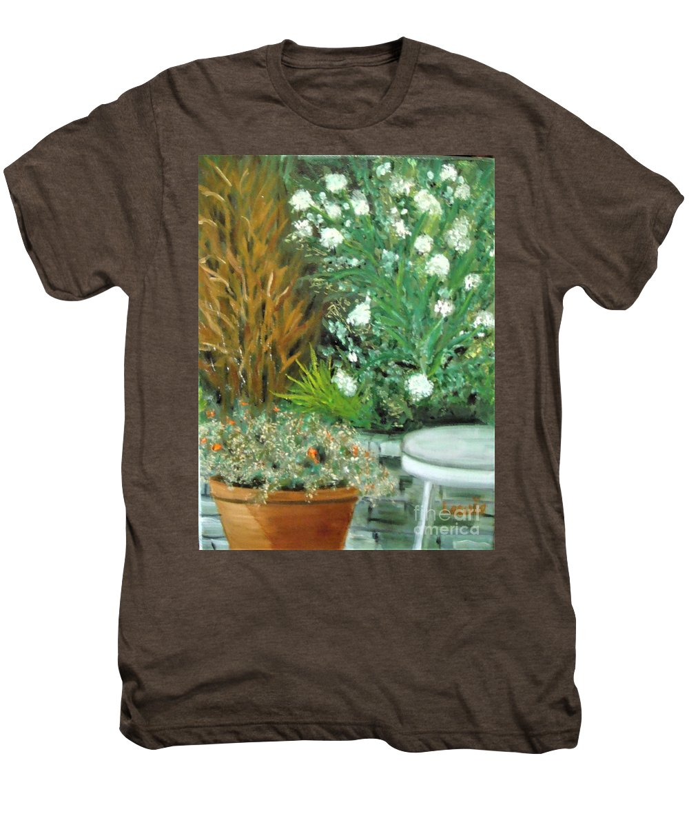 Virginia Men's Premium T-Shirt featuring the painting Virginia's Garden by Laurie Morgan