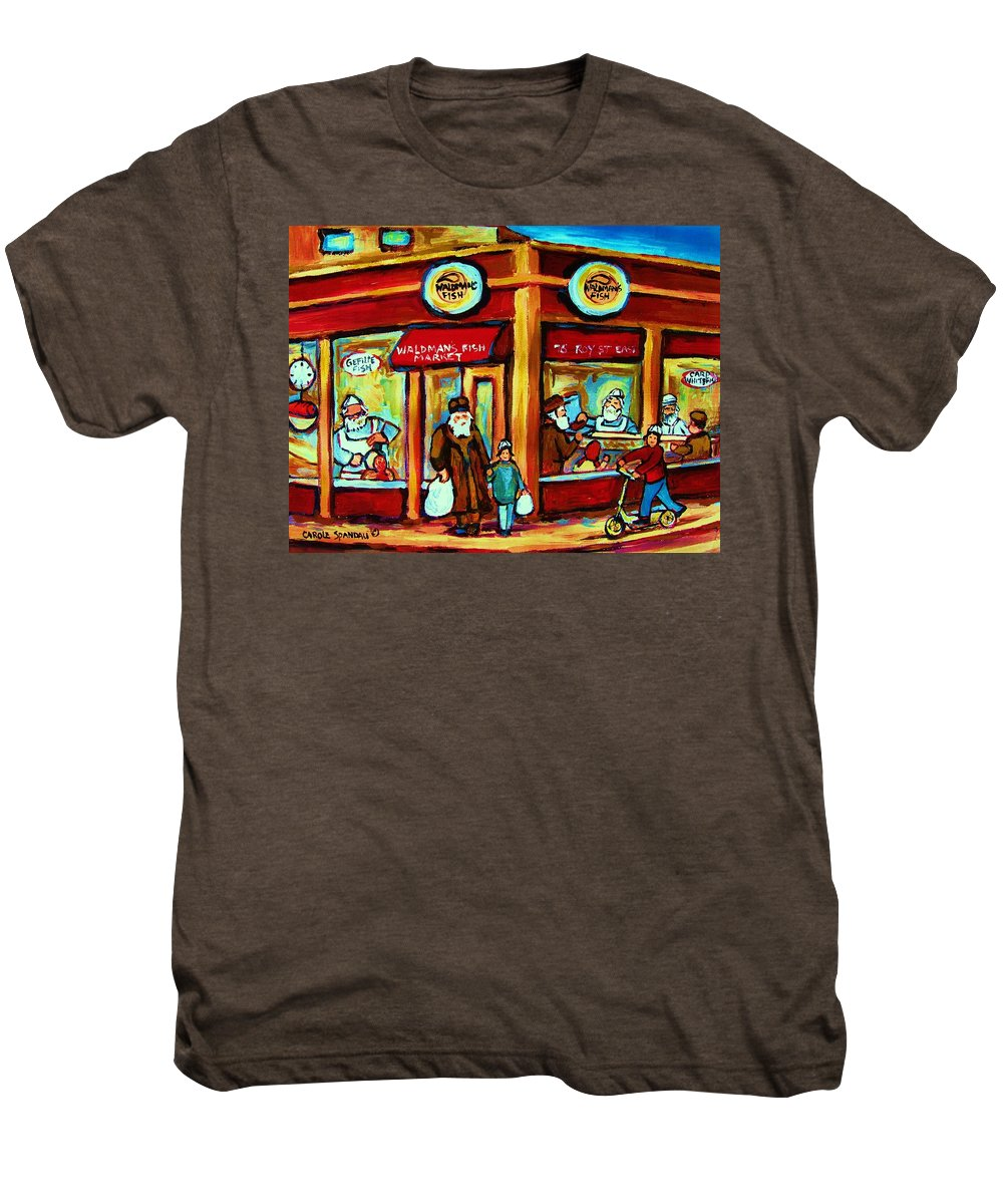 Montreal Men's Premium T-Shirt featuring the painting Waldmans In Montreal by Carole Spandau