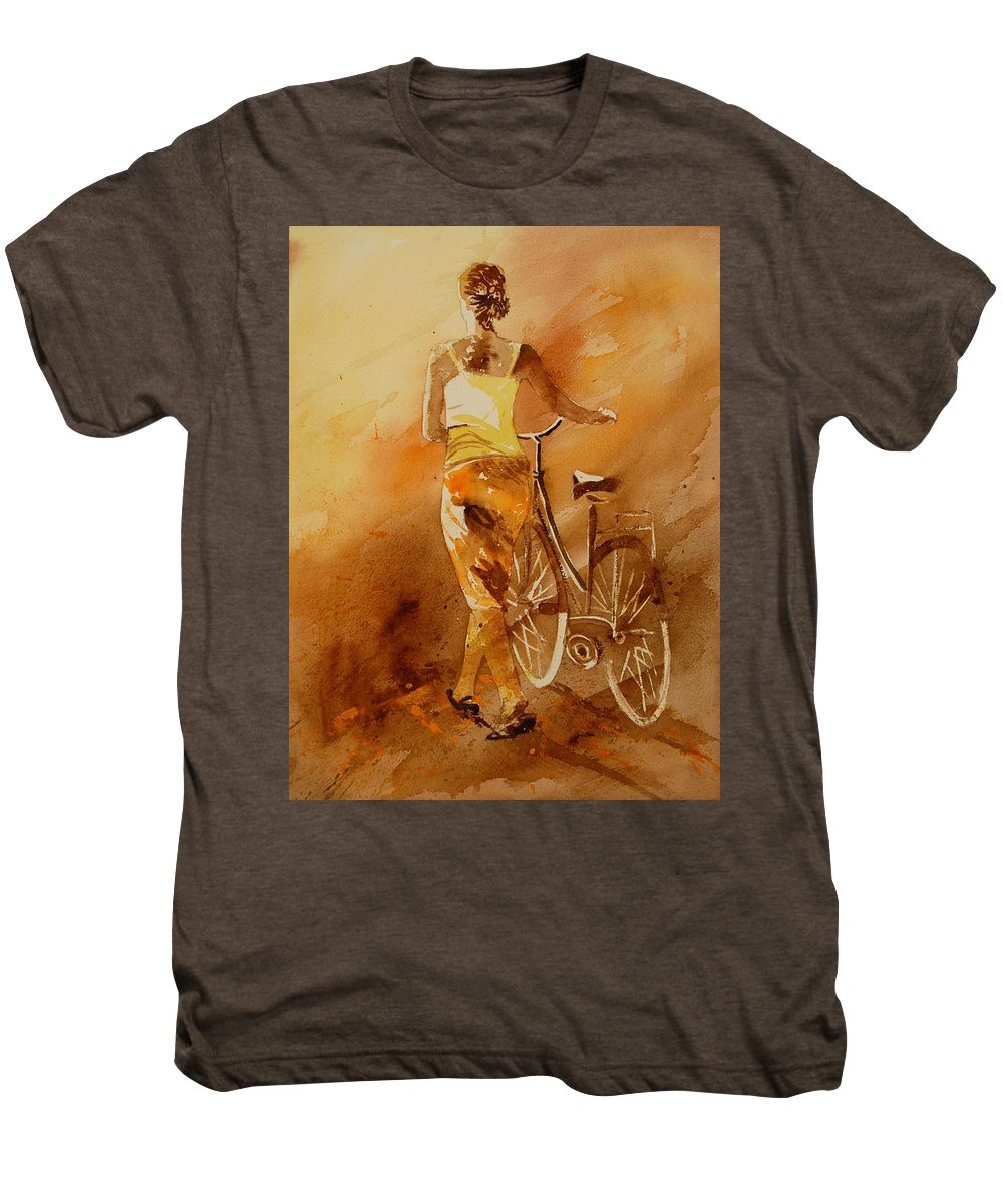 Figurative Men's Premium T-Shirt featuring the painting Watercolor With My Bike by Pol Ledent