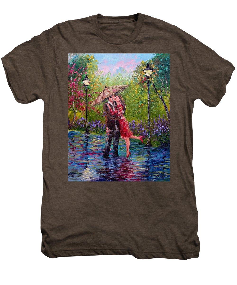 Kiss Men's Premium T-Shirt featuring the painting Wet Kiss by David G Paul