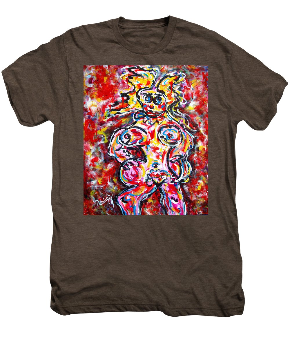 Abstracts Men's Premium T-Shirt featuring the painting What Are You Looking At by Natalie Holland