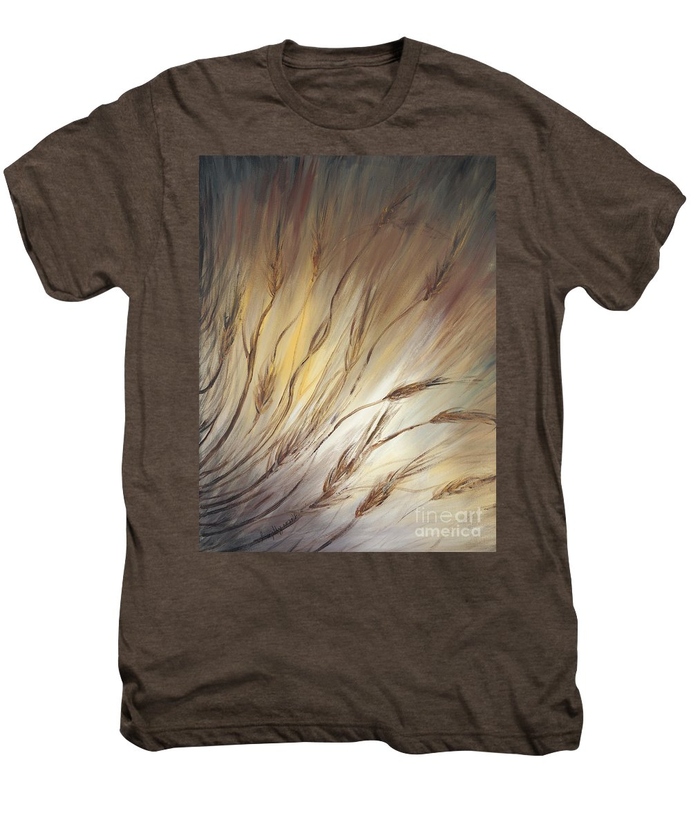 Wheat Men's Premium T-Shirt featuring the painting Wheat In The Wind by Nadine Rippelmeyer
