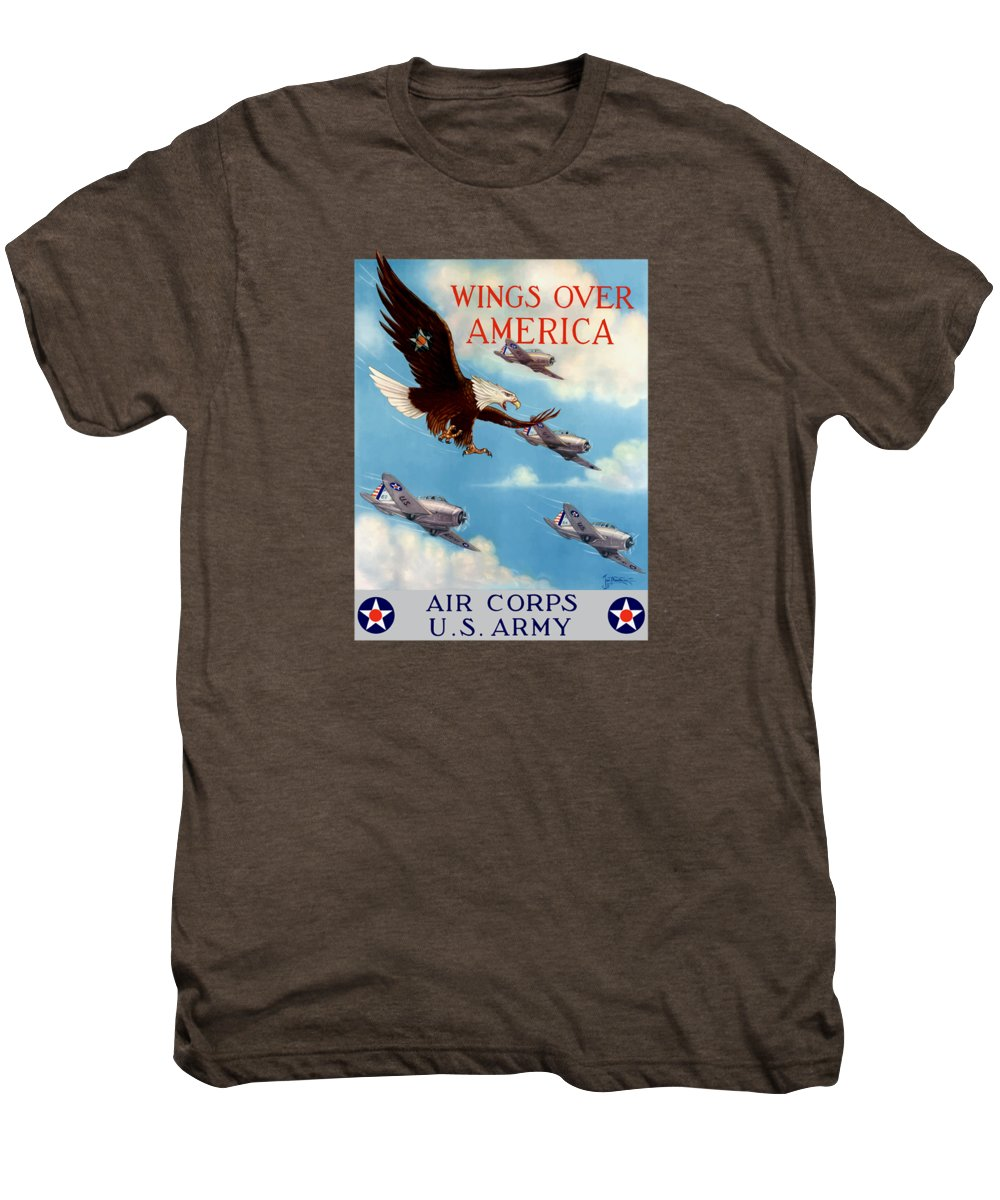 Eagle Men's Premium T-Shirt featuring the painting Wings Over America - Air Corps U.s. Army by War Is Hell Store