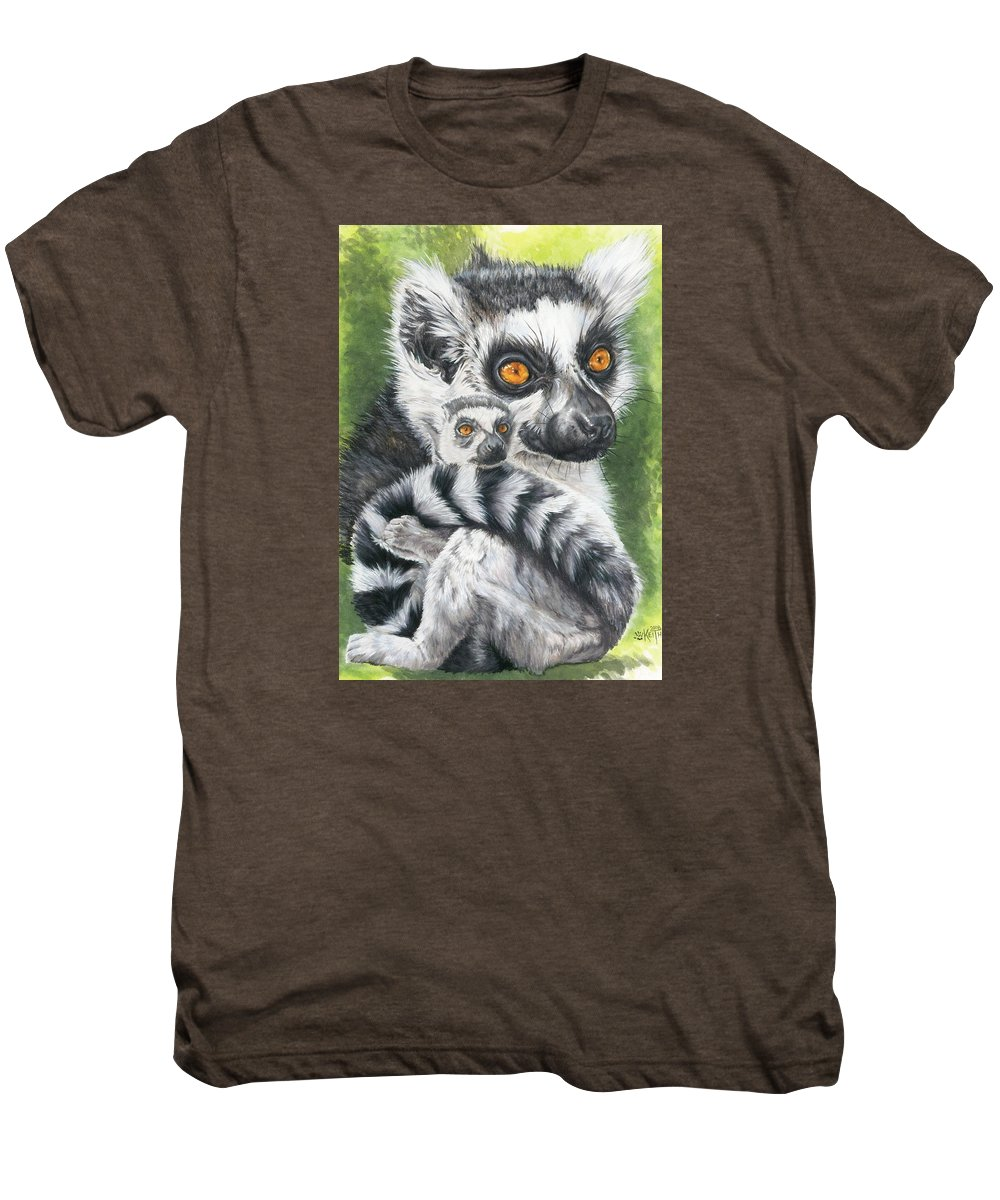 Lemur Men's Premium T-Shirt featuring the mixed media Wistful by Barbara Keith