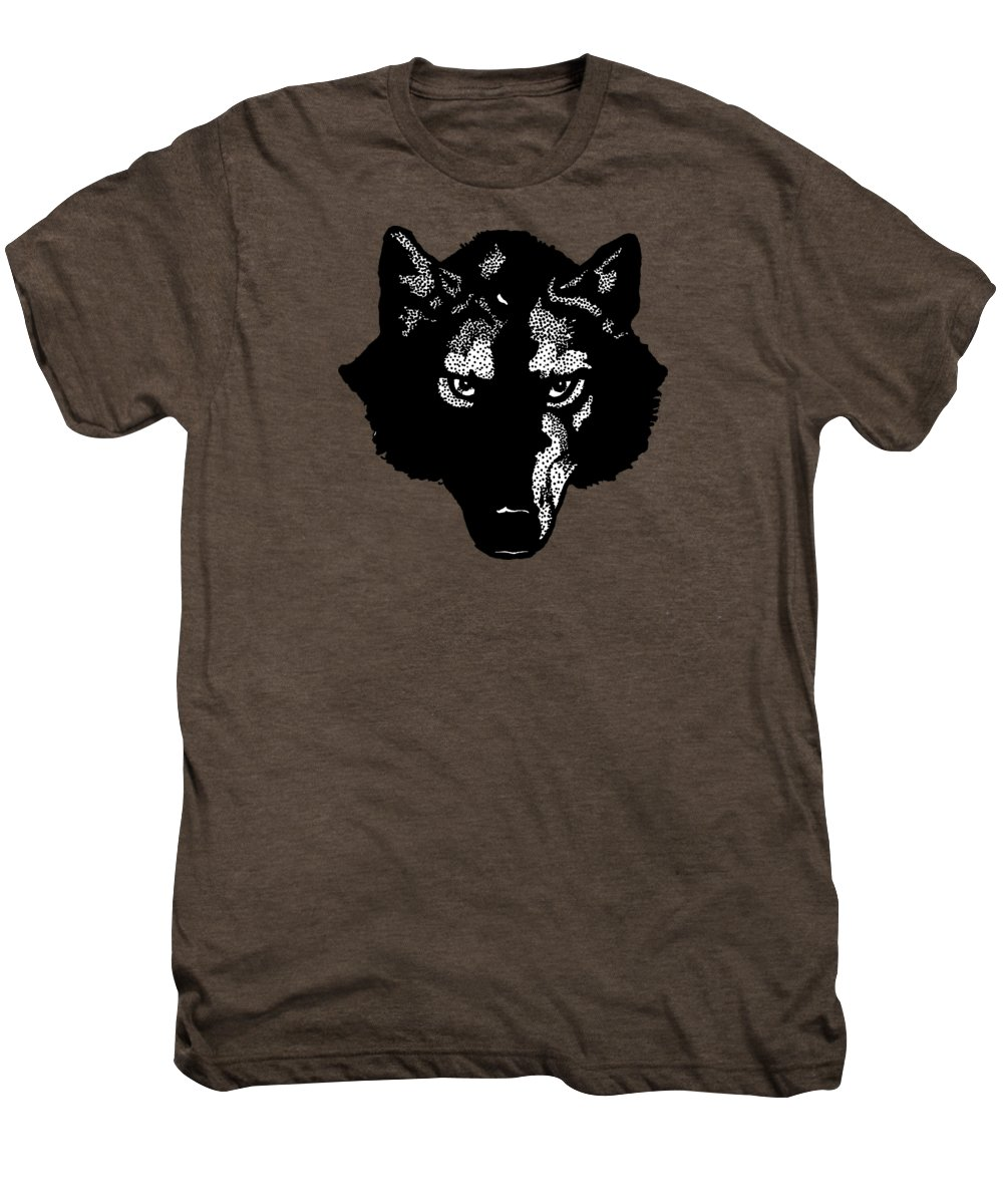 Wolf; Symbol; Graphic; Drawing; Team; Sport; Shirt; T-shirt; Animal; Wolves; Dog; Canine; Fielding; Edward; Vintage; Old; Bookmark; Jack London; Design; Illustration; Drawing; Classic Men's Premium T-Shirt featuring the digital art Wolf Tee by Edward Fielding