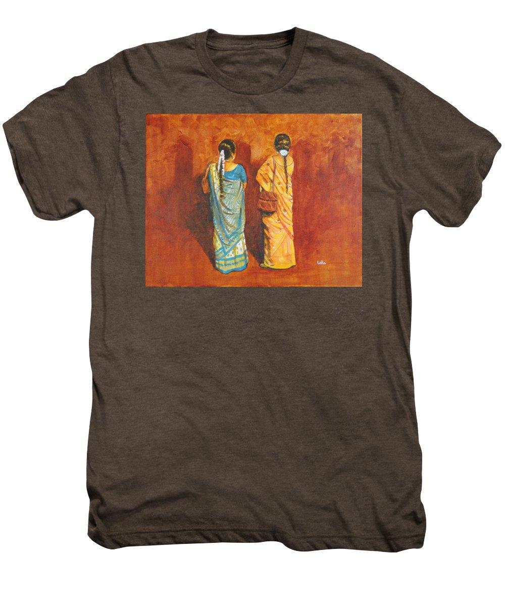 Women Men's Premium T-Shirt featuring the painting Women In Sarees by Usha Shantharam