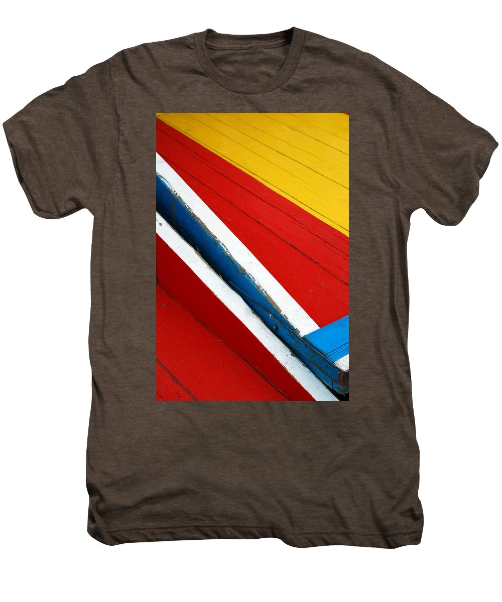 Red Men's Premium T-Shirt featuring the photograph Xochimilco Boat Abstract 1 by Skip Hunt
