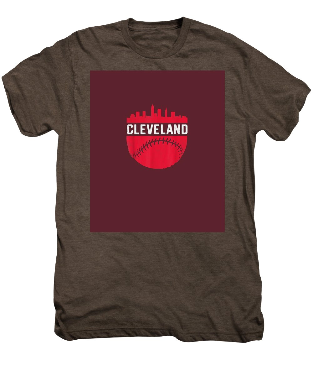 girls' Novelty Clothing Men's Premium T-Shirt featuring the digital art Vintage Downtown Cleveland Ohio Skyline Baseball T-shirt by Unique Tees