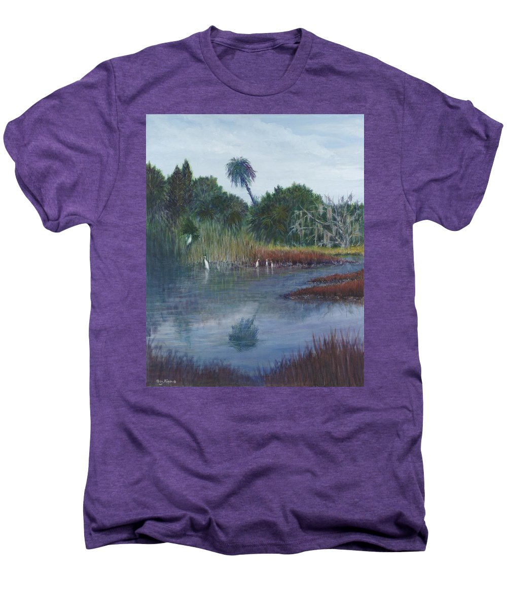 Landscape Men's Premium T-Shirt featuring the painting Low Country Social by Ben Kiger