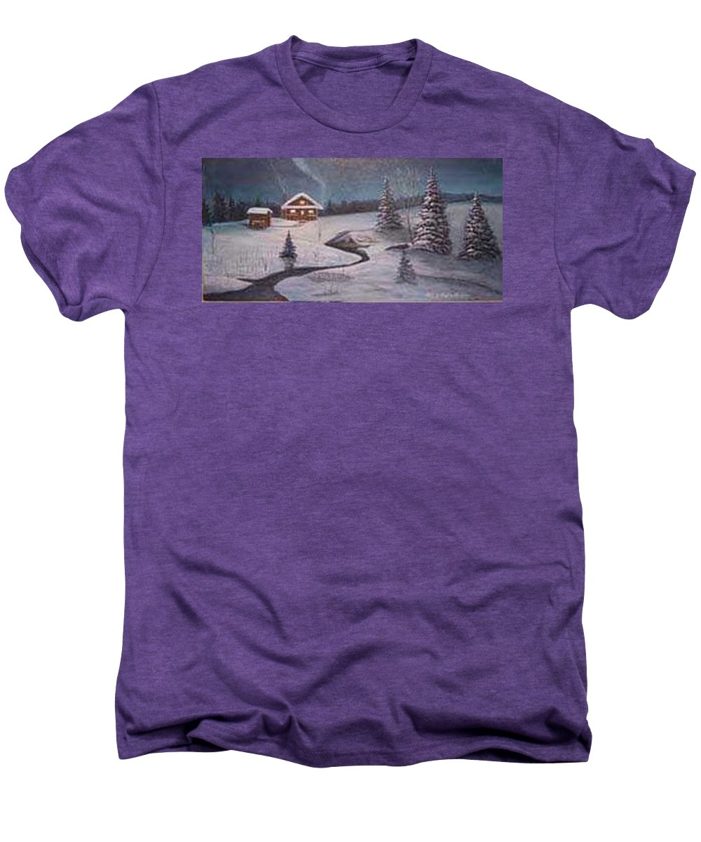 Rick Huotari Men's Premium T-Shirt featuring the painting North Woods Cabin by Rick Huotari