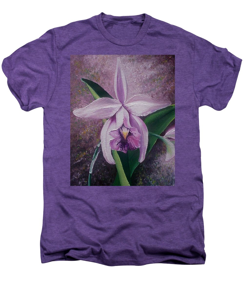 Orchid Purple Floral Botanical Men's Premium T-Shirt featuring the painting Orchid Lalia by Karin Dawn Kelshall- Best