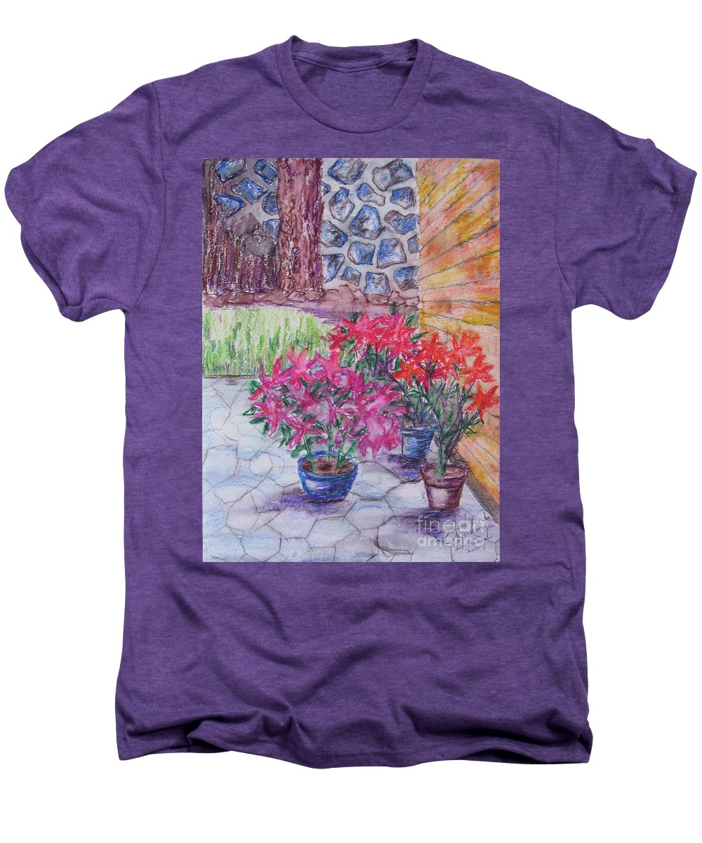 Poinsettias Men's Premium T-Shirt featuring the painting Poinsettias - Gifted by Judith Espinoza