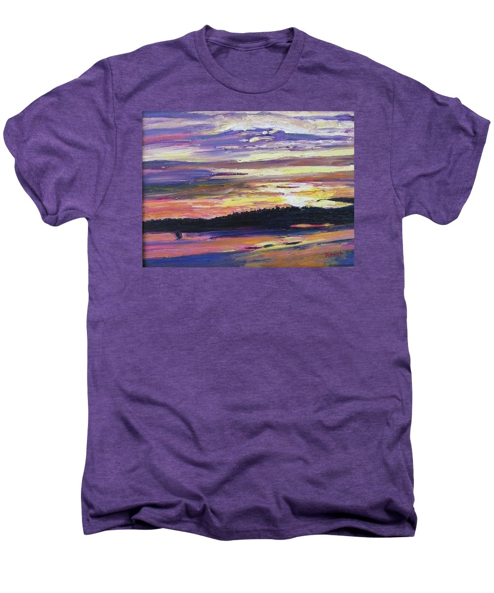 Sunset Men's Premium T-Shirt featuring the painting Sunset by Richard Nowak