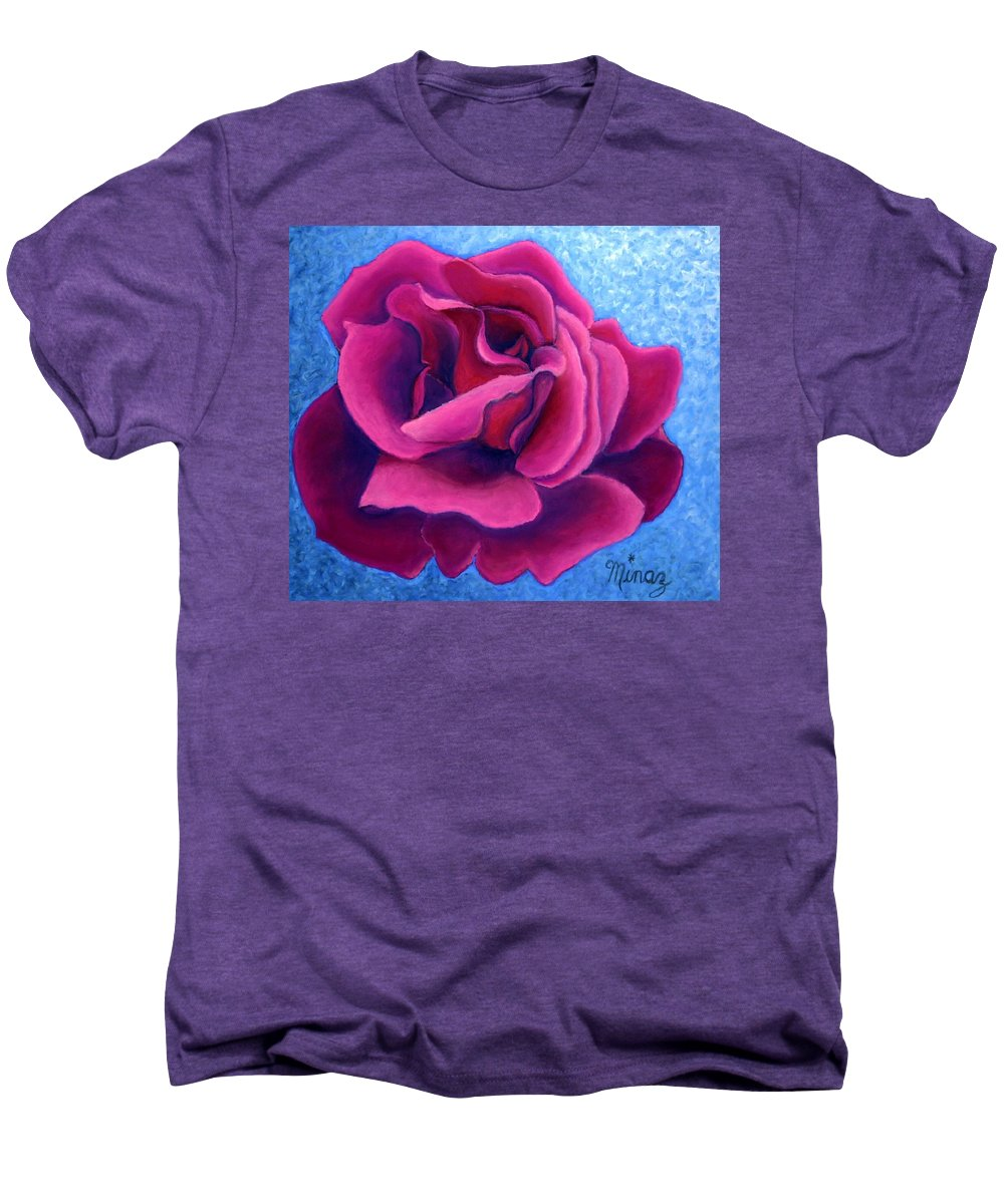 Rose. Pink Rose Men's Premium T-Shirt featuring the painting A Rose Is A Rose.. by Minaz Jantz