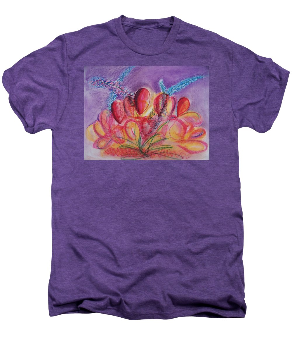 Abstract Men's Premium T-Shirt featuring the drawing Abstract Red And Purple And Blue by Eric Schiabor