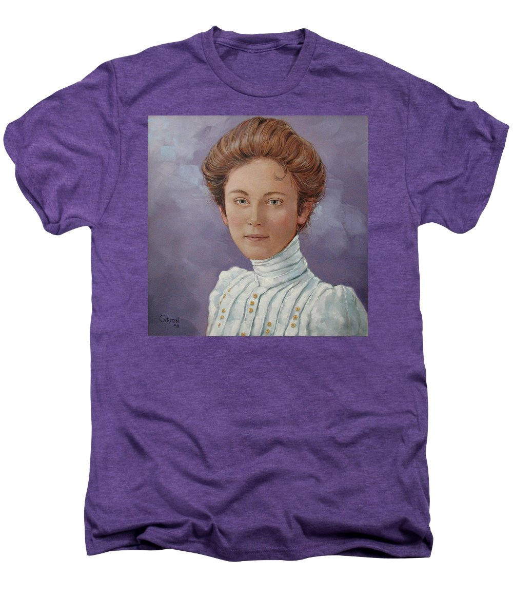 Posthumous Portrait Men's Premium T-Shirt featuring the painting Ada Douglas by Jerrold Carton