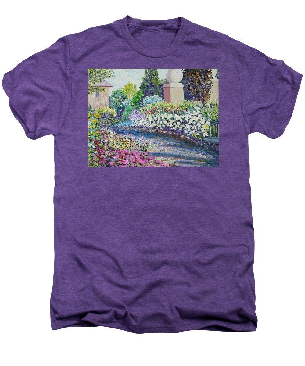 Flowers Men's Premium T-Shirt featuring the painting Amelia Park Pathway by Richard Nowak