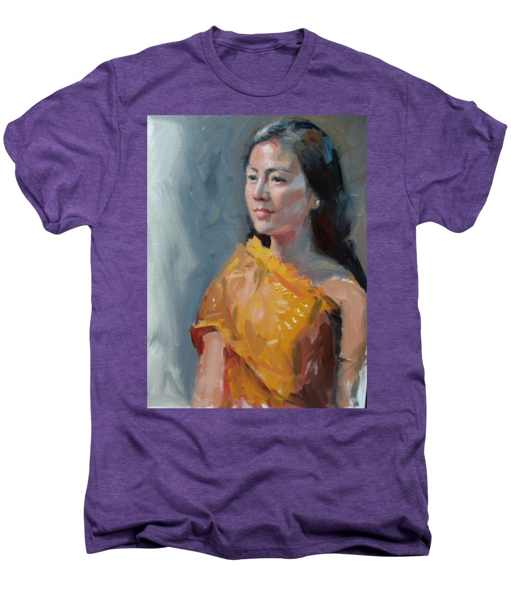 Portrait Men's Premium T-Shirt featuring the painting Anna by Dianne Panarelli Miller