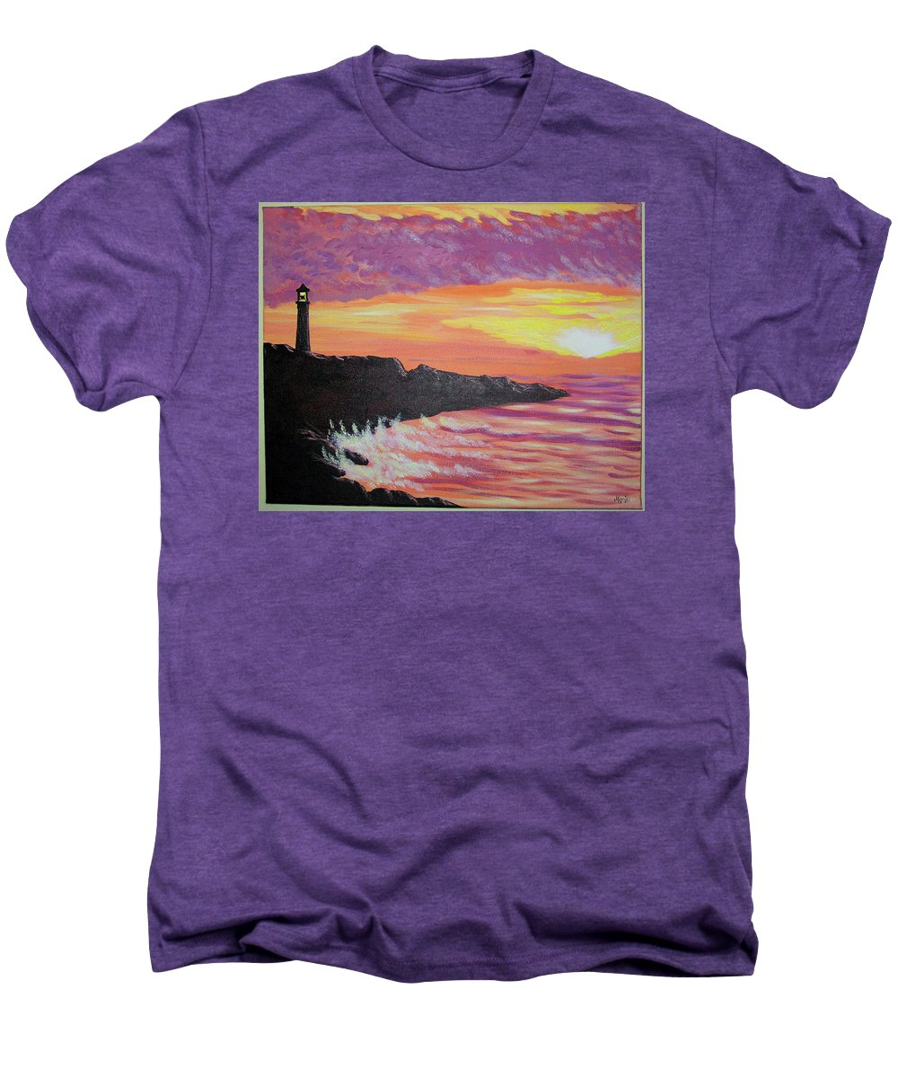 Seascape Men's Premium T-Shirt featuring the painting Bahia At Sunset by Marco Morales