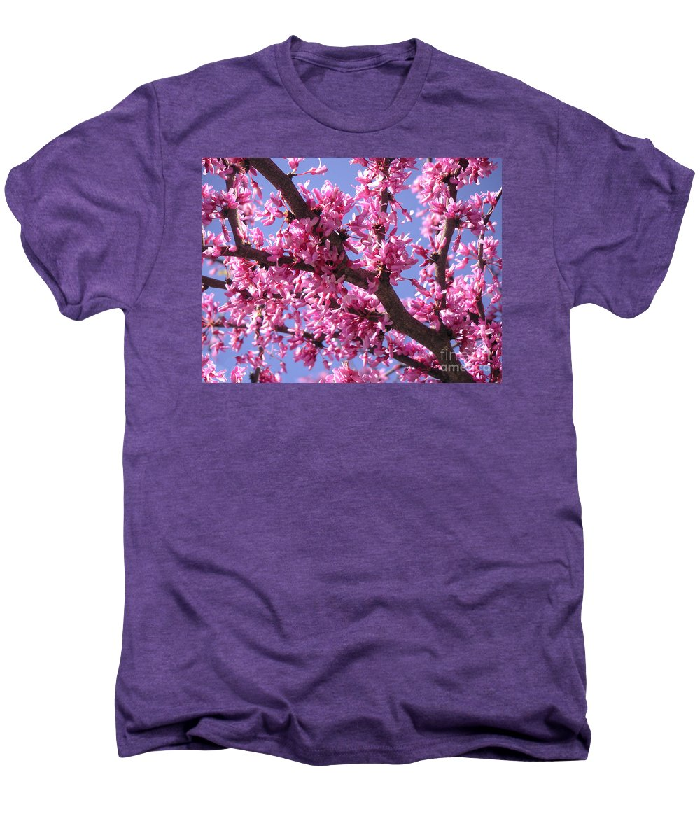 Nature Men's Premium T-Shirt featuring the photograph Blooming Red Buds by Lucyna A M Green