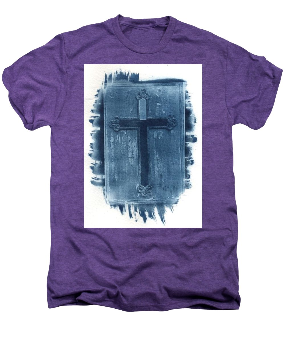 Cyanotype Men's Premium T-Shirt featuring the photograph Blue Cross by Jane Linders