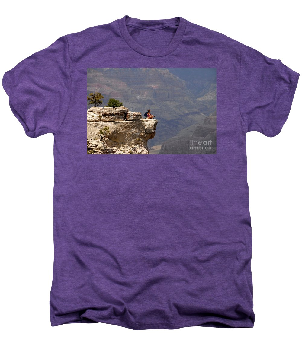 Grand Canyon National Park Arizona Men's Premium T-Shirt featuring the photograph Canyon Thoughts by David Lee Thompson