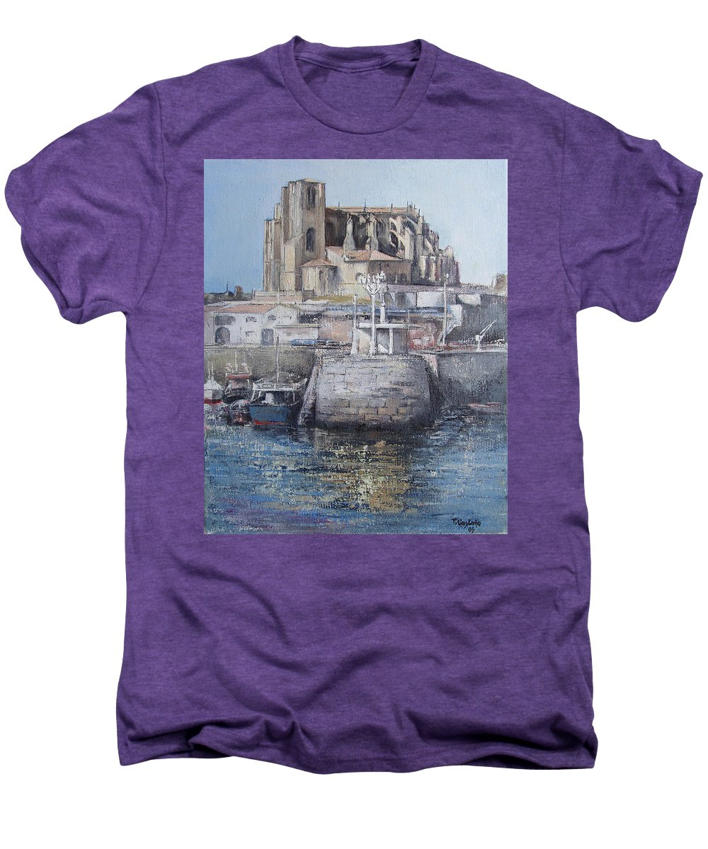 Castro Men's Premium T-Shirt featuring the painting Castro Urdiales by Tomas Castano