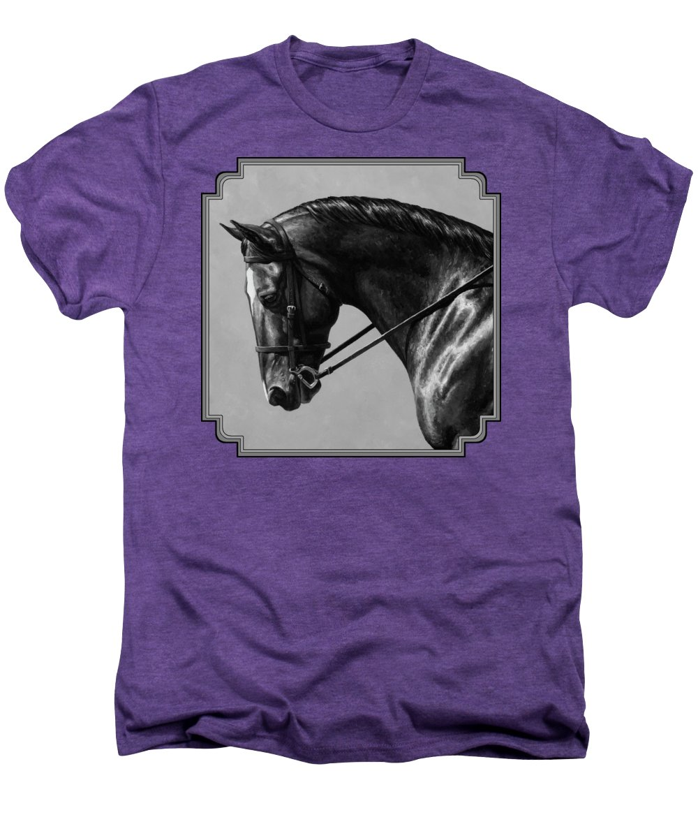 Horse Men's Premium T-Shirt featuring the painting Dark Brown Dressage Horse Black And White by Crista Forest