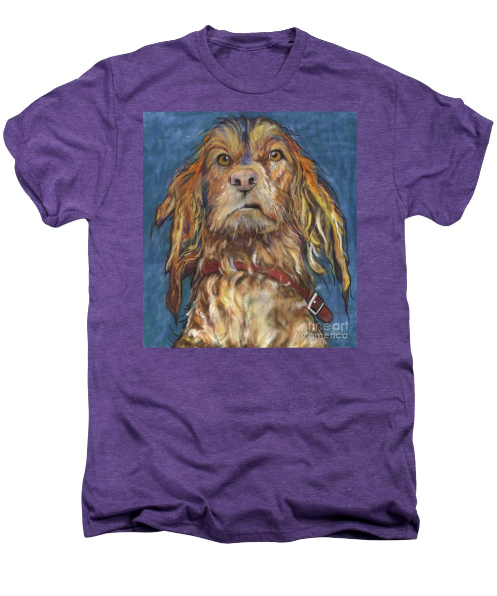 Golden Retriever Painting Men's Premium T-Shirt featuring the pastel Drenched by Pat Saunders-White